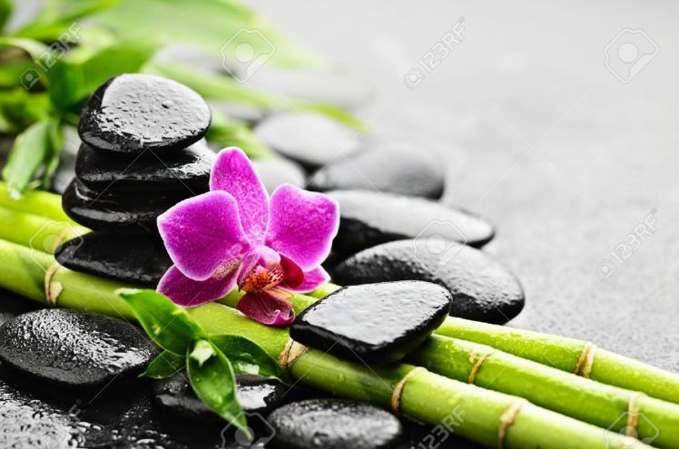 13308015-zen-basalt-stones-and-orchid-with-dew-stock-photo